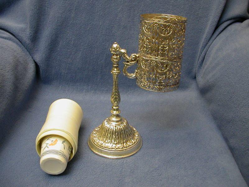 vintage silver filigree bathroom dixie cup dispenser/holder  sold, Bathroom decor